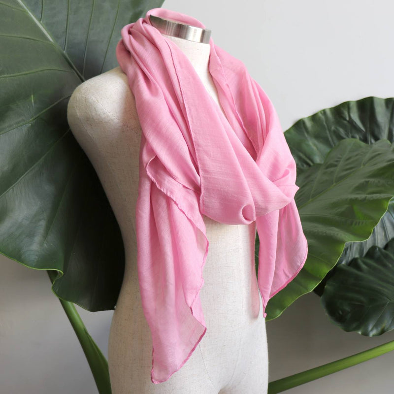 Light + soft lightweight all season women's cotton blend scarf wrap - Pink.