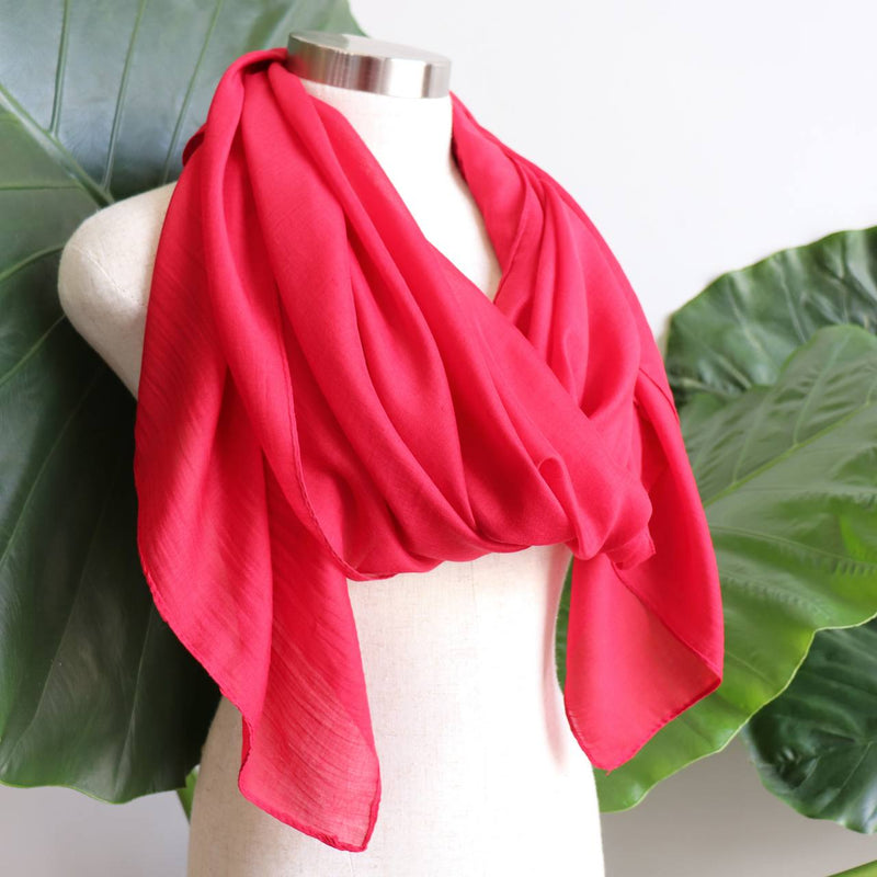 Light + soft lightweight all season women's cotton blend scarf wrap - Ruby Red.