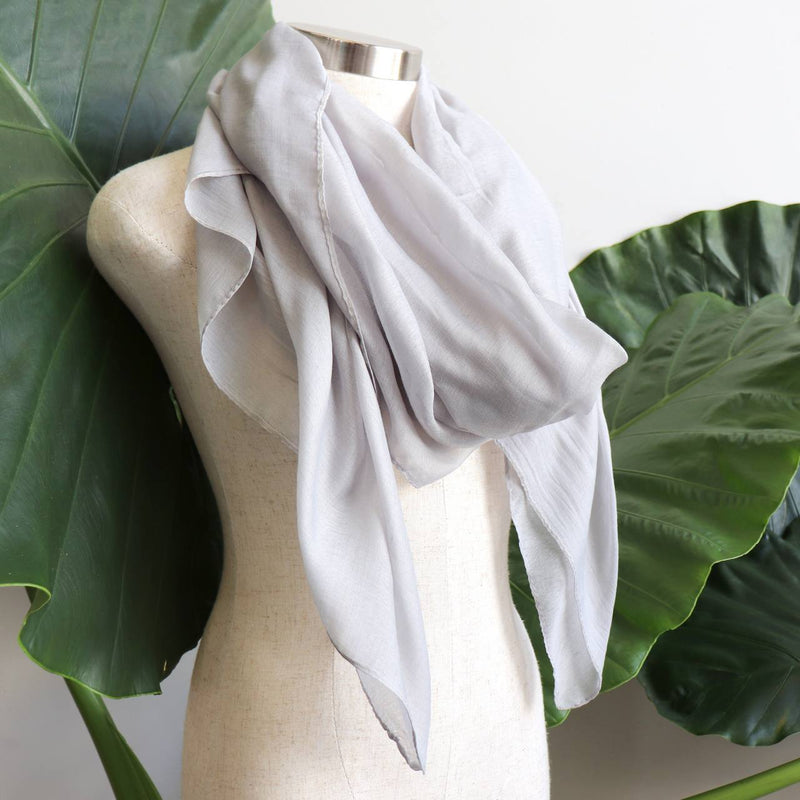 Light + soft lightweight all season women's cotton blend scarf wrap - Silver Grey.