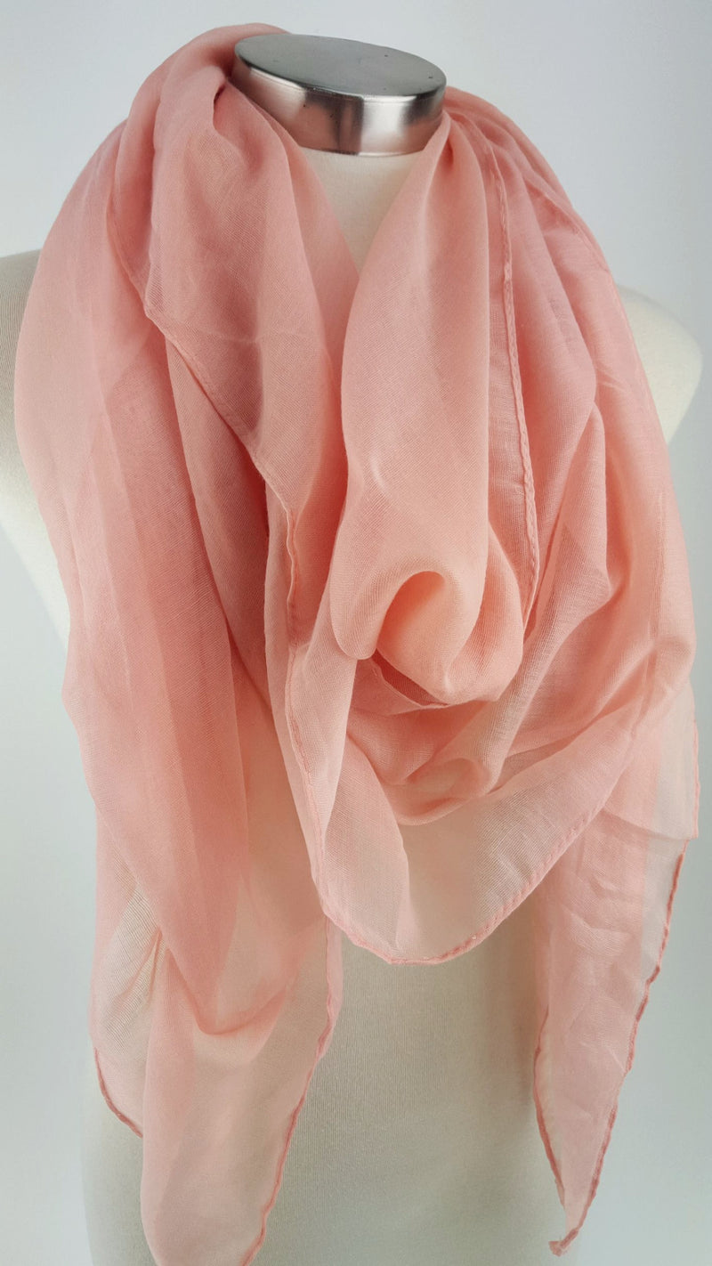 Light + soft lightweight all season women's cotton blend scarf wrap - Peach.