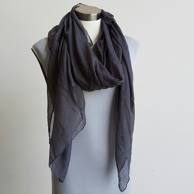 Light + soft lightweight all season women's cotton blend scarf wrap - Charcoal.