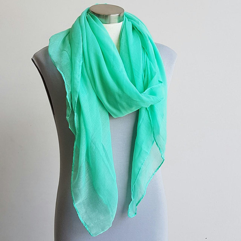 Light + soft lightweight all season women's cotton blend scarf wrap - Mint green.