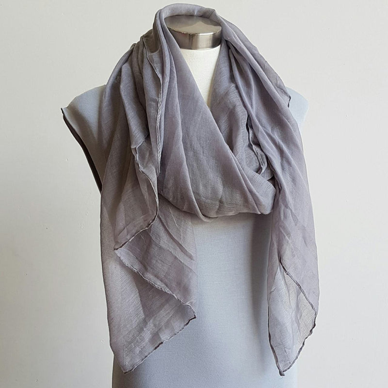 Light + soft lightweight all season women's cotton blend scarf wrap - Slate grey.