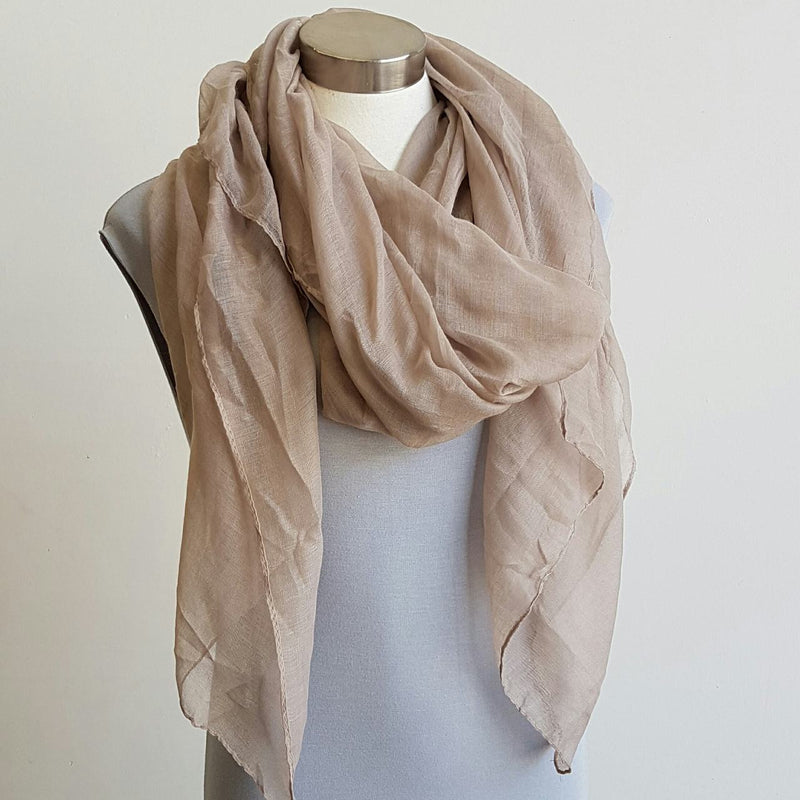 Light + soft lightweight all season women's cotton blend scarf wrap - Taupe.