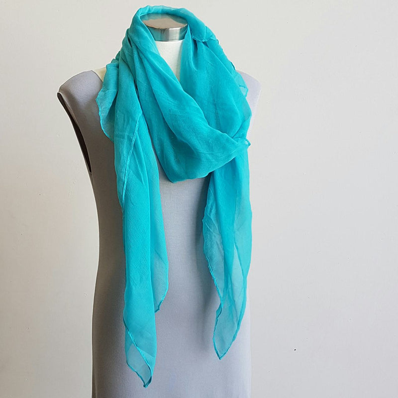 Light + soft lightweight all season women's cotton blend scarf wrap - Turquoise blue.