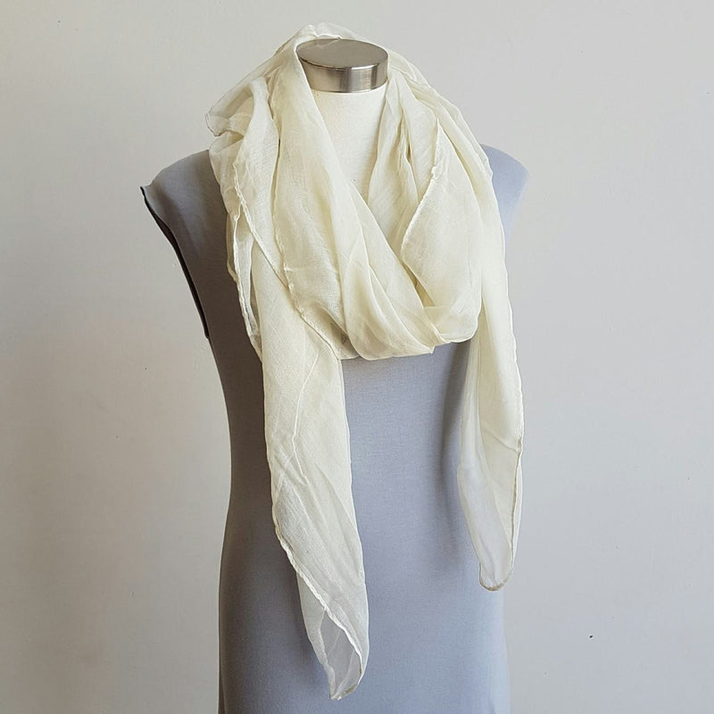 Light + soft lightweight all season women's cotton blend scarf wrap - Cream.