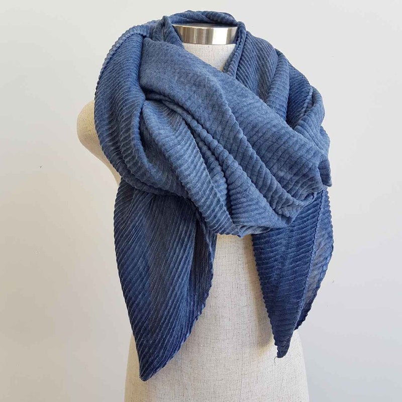 The Soprano Scarf Wrap soft crease pleat. Denim Blue.