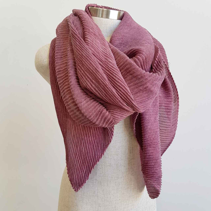 The Soprano Scarf Wrap soft crease pleat. Grape.