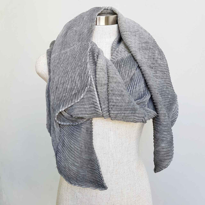 The Soprano Scarf Wrap soft crease pleat. Stormy Grey.