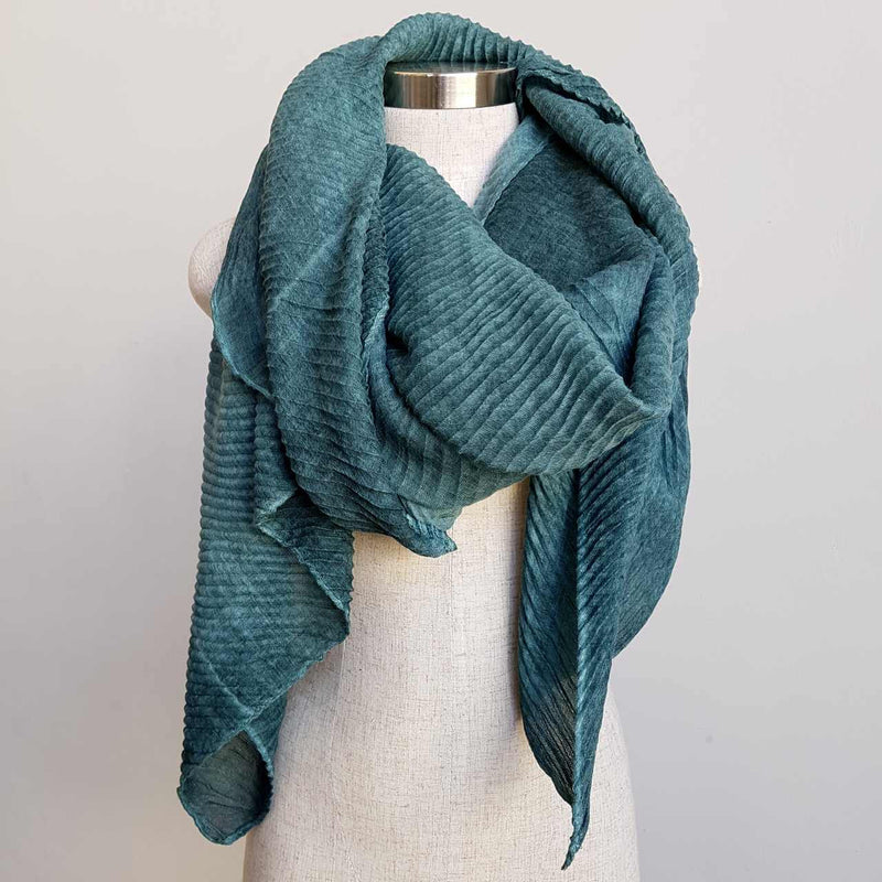 The Soprano Scarf Wrap soft crease pleat. Forrest Green