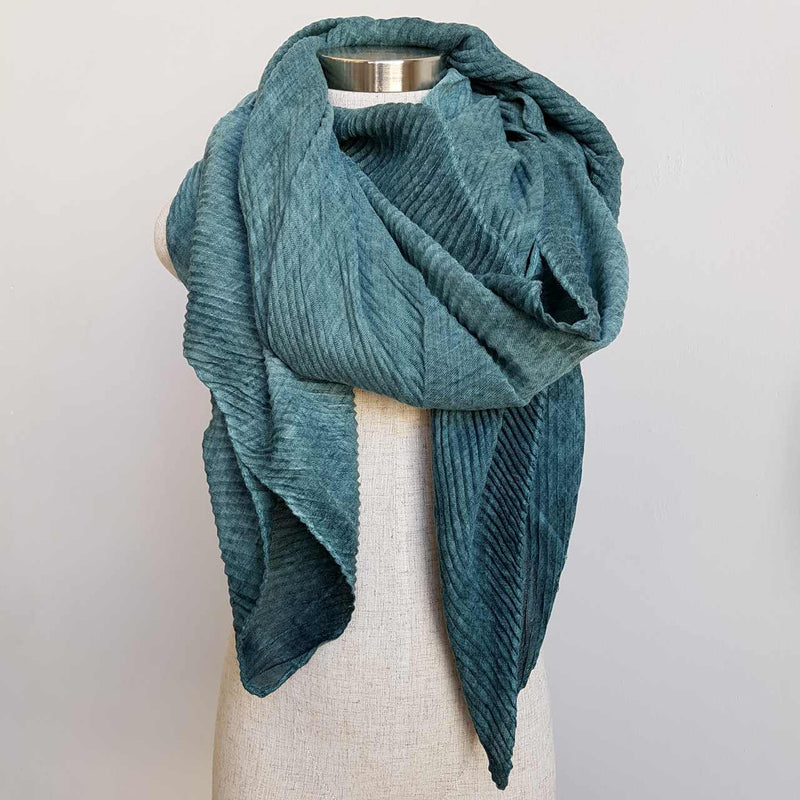 The Soprano Scarf Wrap soft crease pleat. Forest Green.
