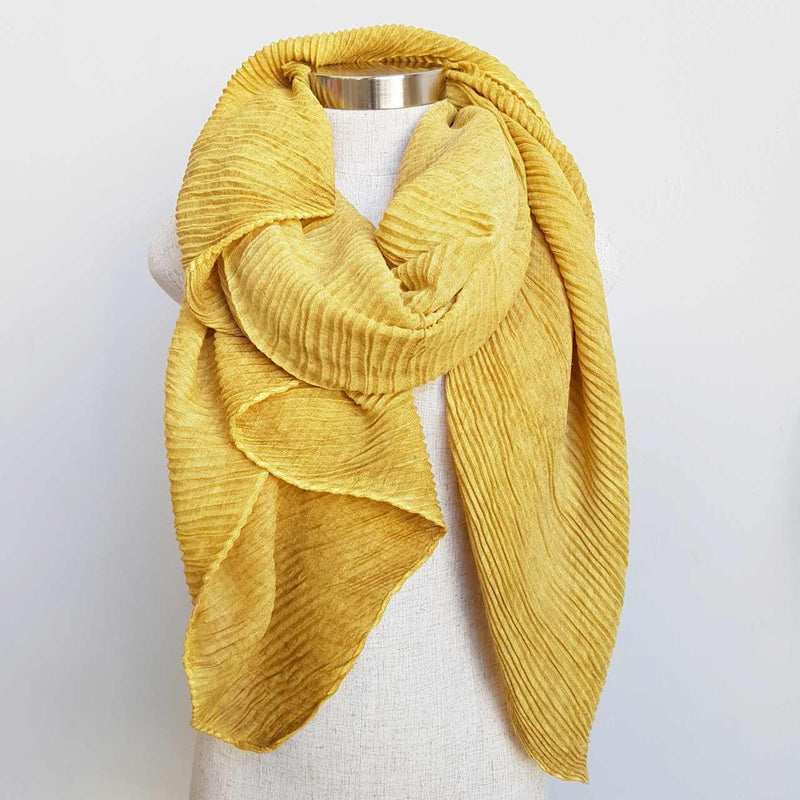 The Soprano Scarf Wrap soft crease pleat. Mustard