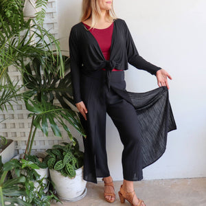 Sorrento Wrap Pant. Elegant women's bottoms with back elasticated waist. Made with a soft linen blend fabric. In sizes 8-20. Black.