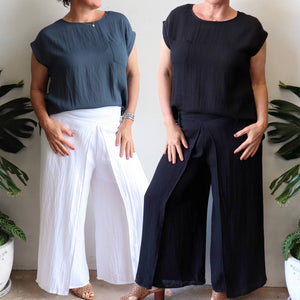 Sorrento Wrap Pant. Elegant women's bottoms with back elasticated waist. Made with a soft linen blend fabric. In sizes 8-20.