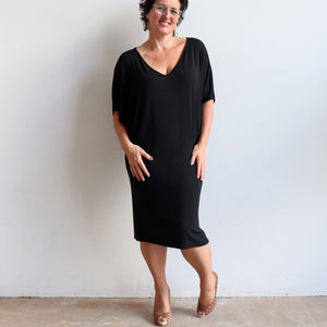 Stand By Me Dress by KOBOMO - knee-length batwing t-shirt design in bamboo. Black.
