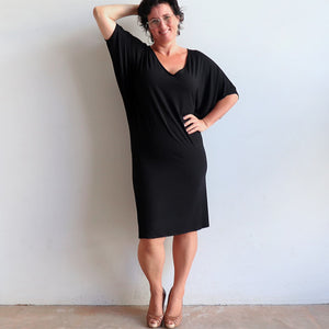 Stand By Me Dress by KOBOMO - knee-length batwing t-shirt design in bamboo. Black. Sleeve view.