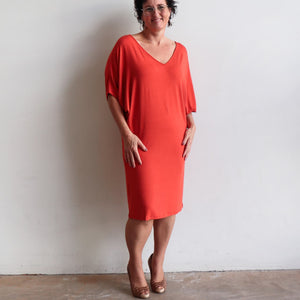 Stand By Me Dress by KOBOMO - knee-length batwing t-shirt design in bamboo. Brick.