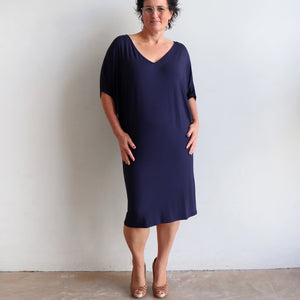 Stand By Me Dress by KOBOMO - knee-length batwing t-shirt design in bamboo. Navy blue.