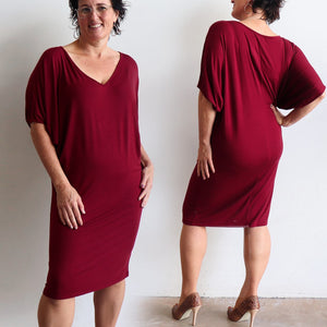 Stand By Me Dress by KOBOMO - knee-length batwing t-shirt design in bamboo. Sangria Red. Front and back view.