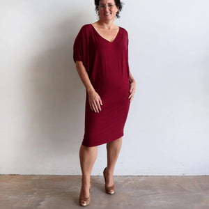 Stand By Me Dress by KOBOMO - knee-length batwing t-shirt design in bamboo. Sangria red.