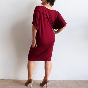 Stand By Me Dress by KOBOMO - knee-length batwing t-shirt design in bamboo. Sangria Red. Back view.