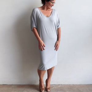 Stand By Me Dress by KOBOMO - knee-length batwing t-shirt design in bamboo. Silver.
