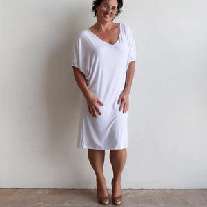Stand By Me Dress by KOBOMO - knee-length batwing t-shirt design in bamboo. White.