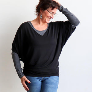 Stand By Me Top by KOBOMO - batwing t-shirt in quality bamboo fabric, ethically handmade. Black. Layered view.