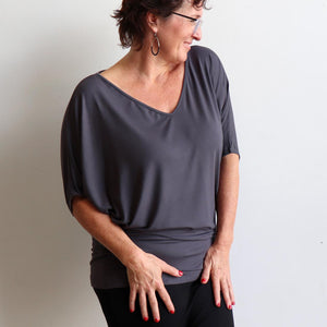 Stand By Me Top by KOBOMO - batwing t-shirt in quality bamboo fabric, ethically handmade. Charcoal Grey.