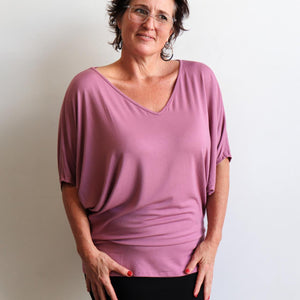 Stand By Me Top by KOBOMO - batwing t-shirt in quality bamboo fabric, ethically handmade. Heather Pink.