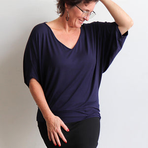 Stand By Me Top by KOBOMO - batwing t-shirt in quality bamboo fabric, ethically handmade. Navy Blue.