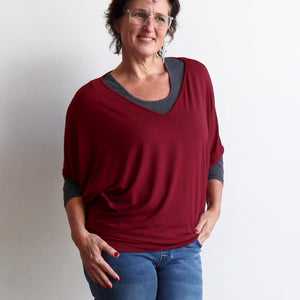 Stand By Me Top by KOBOMO - batwing t-shirt in quality bamboo fabric, ethically handmade. Sangria Red. Layered view.