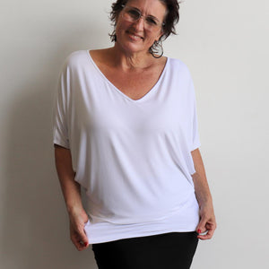 Stand By Me Top by KOBOMO - batwing t-shirt in quality bamboo fabric, ethically handmade. White.