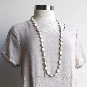 Stone + Fibre Knotted Strand Necklace