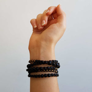 stone and fibre wrap bracelet accessory black