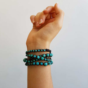 stone and fibre wrap bracelet accessory Turquoise