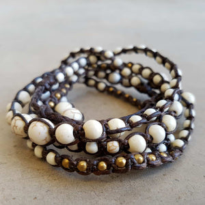 stone and fibre wrap bracelet accessory white
