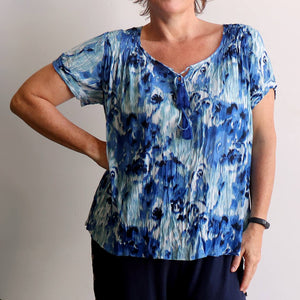 Summer Dreams Short Sleeve Blouse - Blue Water