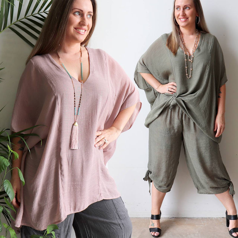 Plus size light + floaty long neutral Summer beach kaftan top with V-neck and elbow-length sleeves. Eucalyptus Green + Oyster Pink.
