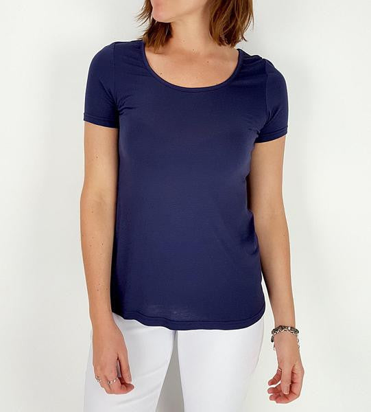 Soft polished cotton short sleeved summer tee. Real Australian sizes | Small > Plus size. Navy blue.
