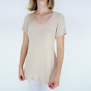 Women's stretchy soft polished cotton blend,  short sleeved t-shirt. Plain and basic summer top staple for easy styling and layering. Petite to plus size available from a 6 to 22 - Nude