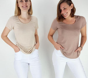 Women's stretchy soft polished cotton blend,  short sleeved t-shirt. Plain and basic summer top staple for easy styling and layering. Petite to plus size available from a 6 to 22 - Nude and Mocha
