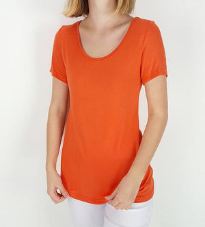 Women's stretchy soft polished cotton blend,  short sleeved t-shirt. Plain and basic summer top staple for easy styling and layering. Petite to plus size available from a 6 to 22 - Orange