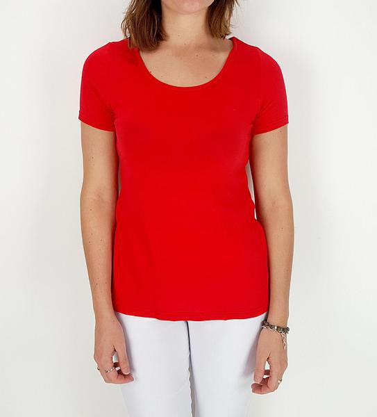 Soft polished cotton short sleeved summer tee. Real Australian sizes | Small > Plus size. Red.