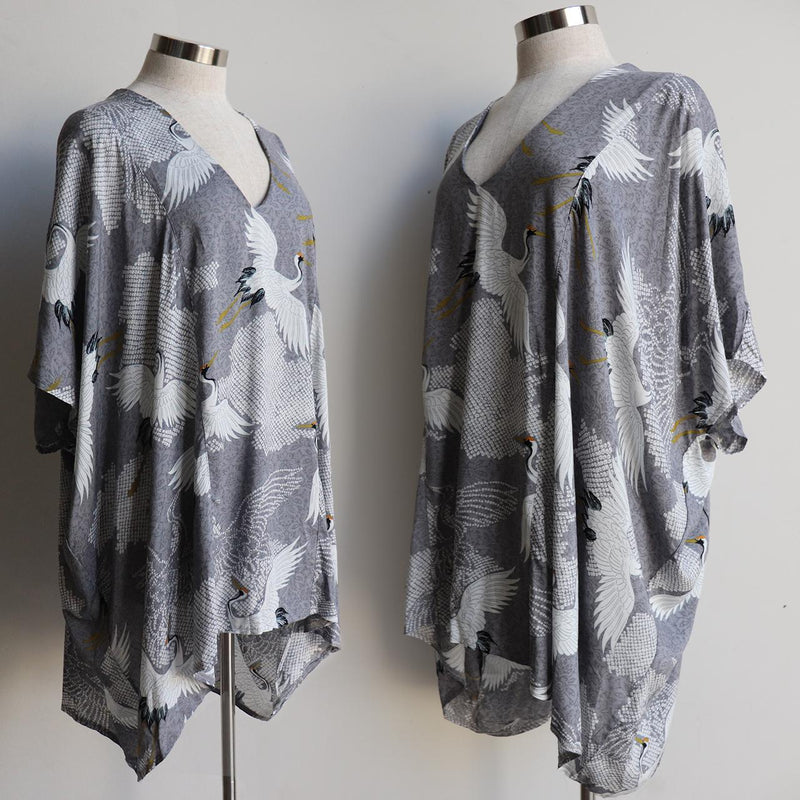 Summer in the City Kaftan Top in Come Fly With Me bird print on softly draping, flowing rayon  fabric.  Oversized styling ideal for plus size fitting.