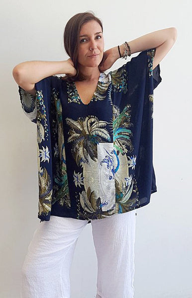 Cool light + easy rayon square cut kaftan summer top with tropical print. Navy.