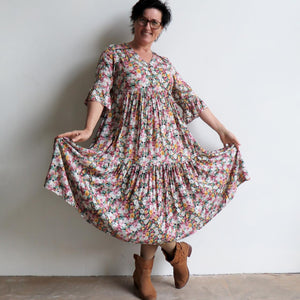 Our Sunday Best Midi Dress is flowing floral frock in a long, classic boho style. Skirt View.