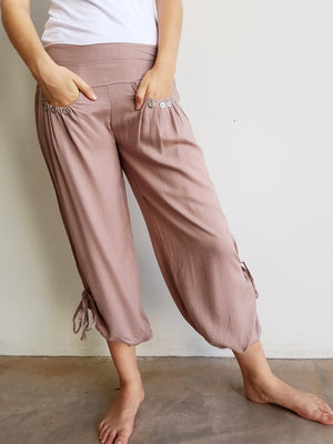 Easy + light 100% rayon harem style genie pant with front pockets + side drawstings for adjustable length. Mocha.