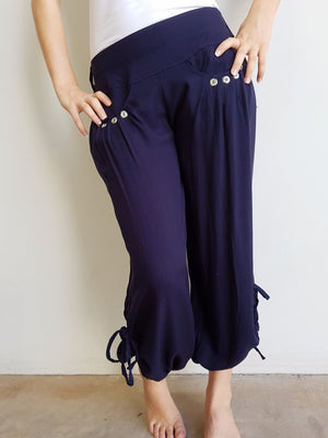 Easy + light 100% rayon harem style genie pant with front pockets + side drawstings for adjustable length. Navy.