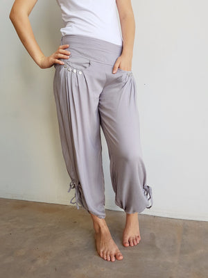 Easy + light 100% rayon harem style genie pant with front pockets + side drawstings for adjustable length. Silver.